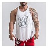 OMFGOD Herren Baumwolle Atmungsaktiv Sport Weste Basketball Fitness Training Vest, Weiß, L