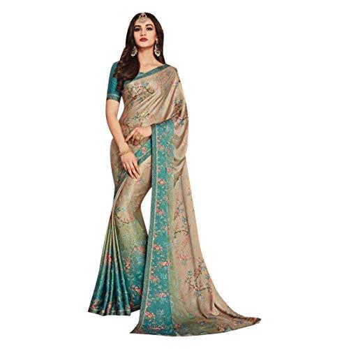 ETHNIC EMPORIUM Damen Swarovski Stein Satin Sari Stilvolle Partei Formal Printed Saree mit Blusen Pakistani Indische Frauen 7506 6,25 mtr Wie...
