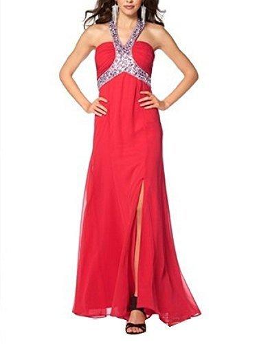 Laura Scott Evening Damen-Kleid Chiffon-Abendkleid mit Strass Rot Größe 34