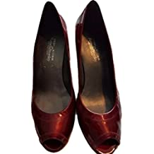 Stuart Weitzman Russell & Bromley New Red Patent Peep Toe Shoes US 8.5 UK 6