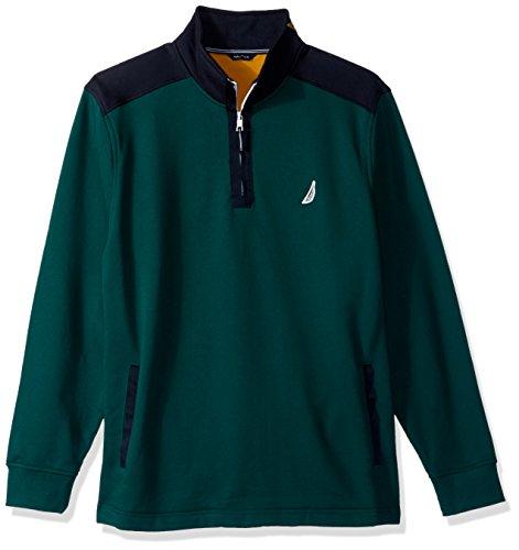 Nautica Herren Long Sleeve Half Zip Mock Neck Colorblocked Sweatshirt, Deep Spruce, Mittel Colorblocked Zip