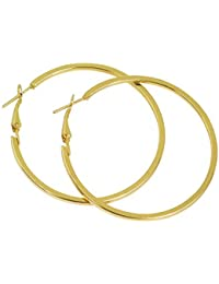 DzineTrendz Gold Plated Brass, Round Shape Medium Size, Hoop Bali Earring For Women And Girls Brass Hoop Earring