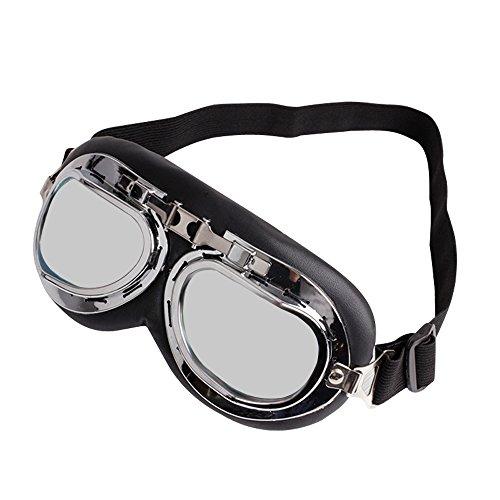 Occhiali Moto Ski Goggles Biker pilota del Motociclo Motocross Cruisers Occhiali Sportivi per Protezione Occhiali da Sole UV Vento Eye Protect Occhiali (Argento)
