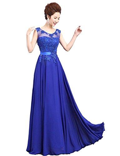 Vantexi Damen Lange Chiffon Abendkleid Partykleid Ballkleid Blau
