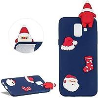 DasKAn Karikatur 3D Weihnachtsmann Silikon Hülle für Samsung Galaxy J6 2018, Niedlich Weihnachten Muster Ultra Dünn Weich Matt Gummi Rückseite Handyhülle Stoßfest Kratzfest Flexibel Schutzhülle,Blau