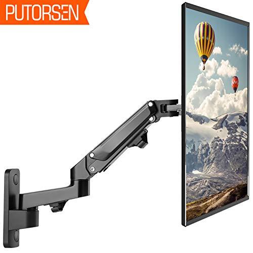 PUTORSEN 17'-27' Monitor Wandhalterung mit Kostenlos Einstellen Gasfeder TV Wandhalterung Fernseher Halterung Schwenkbar Neigbar Universal LCD Wandhalter 2-7kg VESA 75 100 (Schwarz)