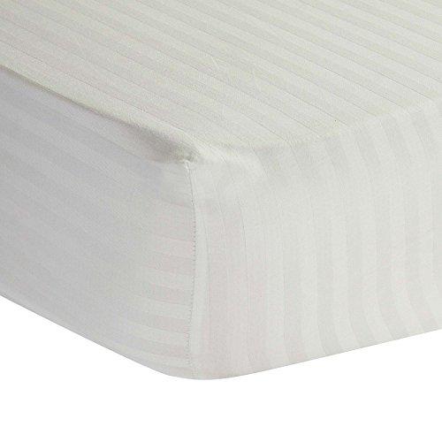 Homescapes Spannbettlaken/Spannbetttuch 180 x 200 cm weiß mit Satin-Streifen - 100% Reine ägyptische Baumwolle Fadendichte 330 - 100% Ägyptische Baumwolle Streifen
