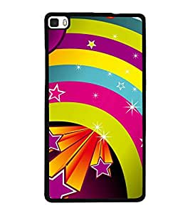 printtech Colored Stars Pattern Back Case Cover for Huawei P8
