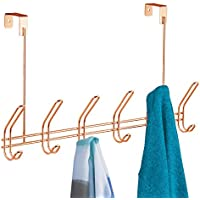iDesign Coat Hooks Over the Door, Copper Coat Hanger with 6 Hooks Made of Durable Metal, Copper Wardrobe Storage for Jackets, Hats or Towels, Copper
