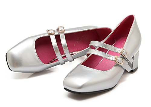YE Damen Geschlossen Lack Chunky High Heels Mary Jane Pumps mit Blockabsatz und Riemchen Schuhe Silber