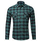 Xmiral Herren Bluse Art und Weise beiläufige Langarmhemd Taschen Lattice Bedruckte T-Shirt (M,D-Grün)