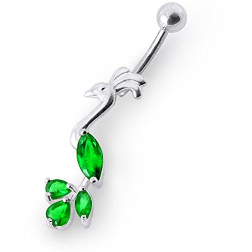 Bijou de Corps anneau de nombril en argent motif paon pierres fantaisies pendant Dark Green
