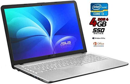 Notebook Asus Cpu Intel Core i3 di 7 gen. da 2,3 GHz, SSD 480GB, display Hd Led da 15,6, DDr4 4Gb, Dvd-Cd +r-r, Usb 3.0 Wifi, Lan, Win10 PRO ed Office Professional, Pronto all'uso Gar. Italiana