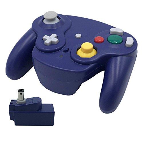 Veanic sans Fil 2,4G Gamecube Controller Gamepad Manette de Jeu avec récepteur pour Nintendo Gamecube, Compatible avec Wii Bleu