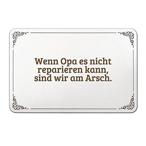 """Mr. & Mrs. Panda Türschild mit Spruch """"Wenn Opa es nicht reparieren kann, sind wir am Arsch."""" - 100% handmade aus MDF - Schild, Türschild, Wandschild, Wanddeko, Deko, Geschenk, Sign, Haustür, Kinderzimmer, Familie, gravur Opa, Papa, Opi, Geschenk Opa, Großeltern, bester Opa Spruch Sprüche Lustig Spass Geschenk Geschenkidee Zitate"""