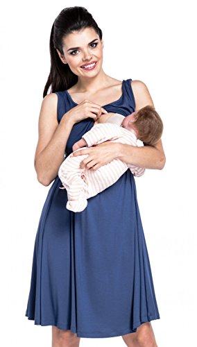 *Zeta Ville – Stillen A-Linie Kleid Schwangere Tiefer V-Ausschnitt – Damen – 685c (Blau Grau, EU 38/40, M)*