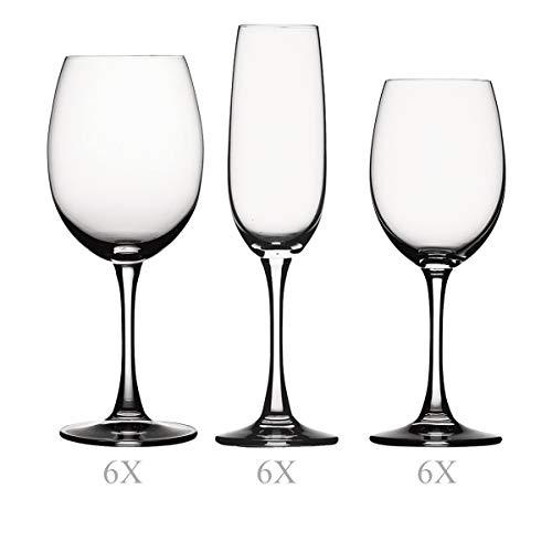 Spiegelau & Nachtmann, 18-teiliges Gläser-Set, Rotwein/Weißwein/Champagner, Kristallglas, 515/ 285/ 190 ml, Soiree, 4070098