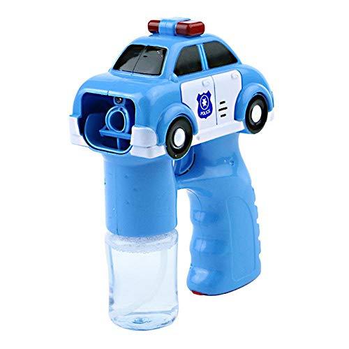 Hamkaw Bubble Machine, automatische Blasenpresse mit 2 Flaschen Blasenlösung, Feuer/Polizei Bubble Maker Bubble Shooter Spielzeug mit Licht und Musik für Kinder Geburtstagsgeschenk Blue Police Car