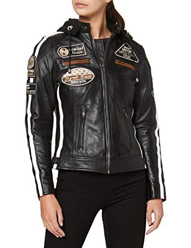 Damen Motorradjacke mit Protektoren, Schwarz, Große : M