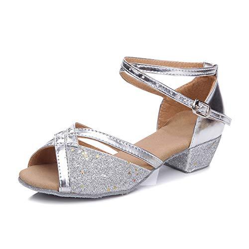 YFCH Mädchen/Damen Standard & Latein Schuhe Tanzschuhe Peep-Toe Tanz Schuhe Sandalen Pumps mit 3CM Absatz, Silber Glänzend, 34.5 EU(Label: 35)