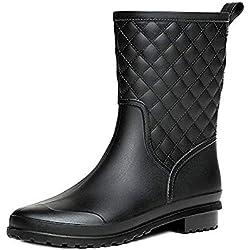 Bota Agua Mujer Jardín Trabajo Lluvia Botas Antideslizante Wellington Boots Negro 38