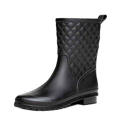 Halbhohe Gummistiefel Damen Kurz Frauen Regenstiefel Stiefeletten Gartenarbeit Mode Outdoor Boots Schwarz 40 (Gummi Regen Stiefel Frauen)