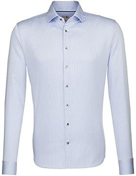 Seidensticker Herren Langarm Hemd Schwarze Rose Slim Fit blau / weiß strukturiert mit Piping 241736.13