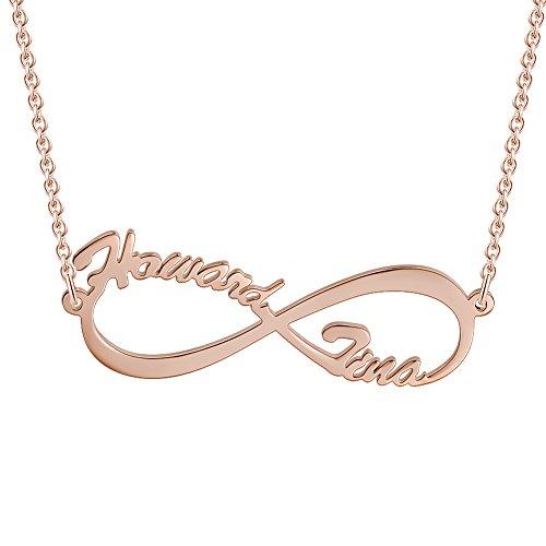 Unendlichkeits Personalisierte Namen Halskette 925 Sterling Silber mit Rosegold(Keine Interpunktion und Symbole) ()