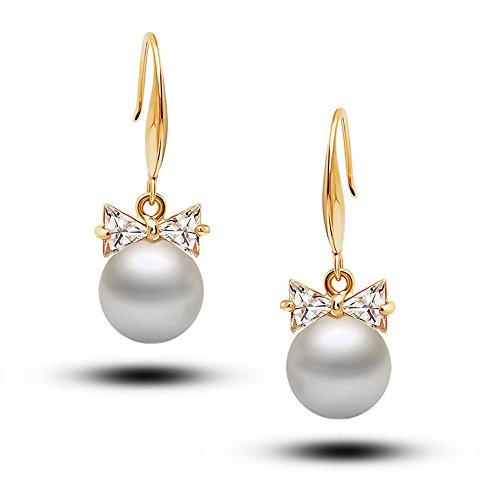 LaDiva Ohrringe mit Schleife aus Straßsteinen und Perle Damen Frauen Freundin