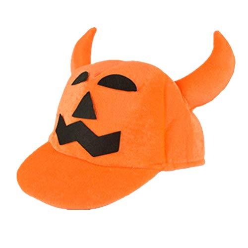 �rbis Hut Halloween Kostüme Süße Party Tanz Horn Kürbis Halloween Hut Anzieh Hut Requisiten (mit Krempe und Zwei Hörnern) ()