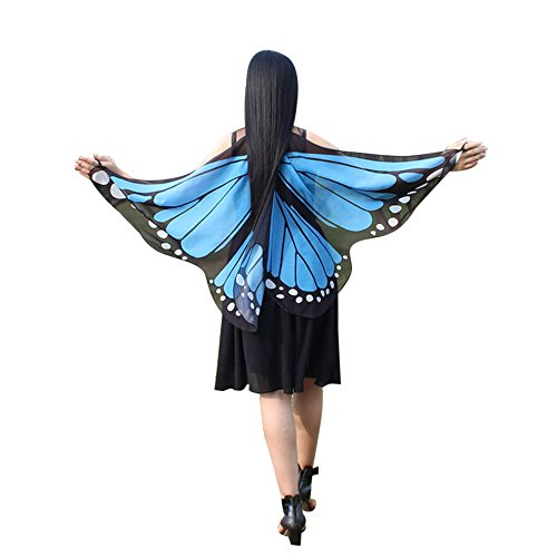 Mambo Kostüm - iYmitz Karneval Mode Frauen Böhmischen Schmetterling Flügel Damen Drucken Schals Pashmina Kostüm Zubehör Faschings Pashmina(Blau,Free Size)