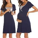 UNibelle Damen Stillpyjama Nachtwäsche Schwangerschaft Schlafanzüge Umstandspyjama Kurz Nachthemden Stillzeit Navy Blau S
