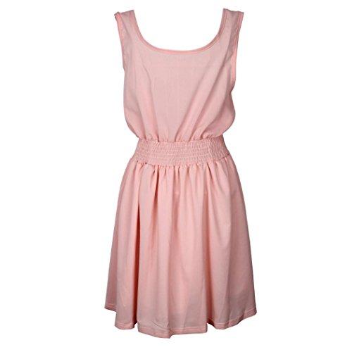 Transer ® Été femme douce Casual taille Tight Robes manches cocktail courte Mini robe rose(XS-L) Rose