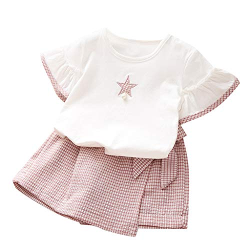 LEXUPE Kleinkind Kind Baby Mädchen Outfits Kleidung Kurzarm Stern T-Shirt + Plaid Shorts Set(Rosa,110)