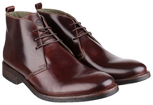Base London Greenwich brodequins Mens Brown cireux