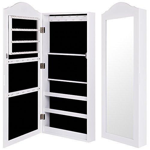 Ezigoo Armadio Portagioie – Da Parete / Da appendere alla Porta 96 x 35 x 8.7 cm – Armadio Specchio Portagioie Bianco con Anta a Specchio e Organizzatore Interno