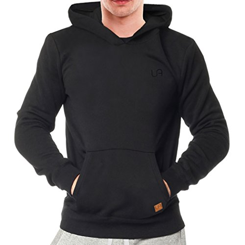 urban air | Relacs | Hoodie, Kapuzen-Pullover | Damen, Herren, Unisex | Sport , Freizeit | Leder-Patch, mit Kapuze | schwarz L (Pullover Air)
