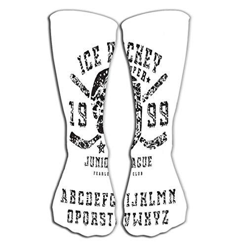 ken Outdoor Sports Men Women High Socks Stocking Slab Serif Font Style Handmade Ice Hockey Club Emblem Black Print White Background Tile Length 19.7