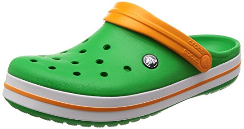 Crocs Unisex-Erwachsene Crocband Clogs, Gr.-37/38 EU, Grass Green-Weiß-blazing Orange (11016-3r4)