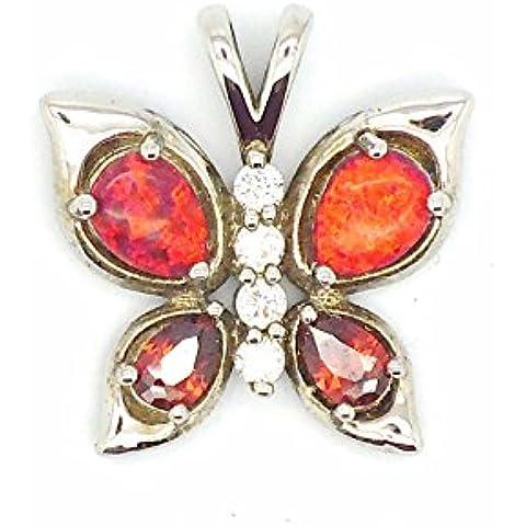 tanglz colgante mariposa en ópalo de fuego rojo, granate y plata maciza 925/1000Pierre para harmoniser L energía entrega gratis con