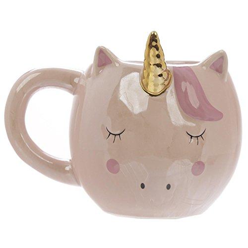Close Up Süßer außergewöhnlicher 3D Einhorn Kaffeebecher - XXL 320 ml - Keramik Tasse - Kawaii - rosa/pink - goldenes Horn -