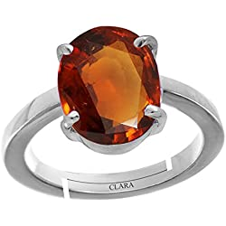 Clara Gomed Hessonite 9.3cts or 10.25ratti stone 92.5 Sterling Silver Adjustable Ring For MEN