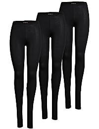 ONLY 3er Pack Leggings für Damen in schwarz - blickdicht - Für Freizeit, Sport, Yoga oder Fitness aus 95% Baumwolle GRATIS Wäschenetz von B46