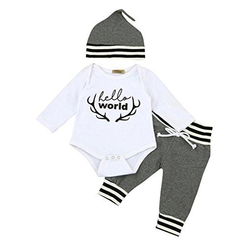 ropa bebe nino recien nacido otoño Switchali Impresión blusas bebe niña manga larga Camisetas Bebé Conjuntos moda camisa + Pantalones largos + Sombrero (3 piezas) (90 (12~18meses), Gris)