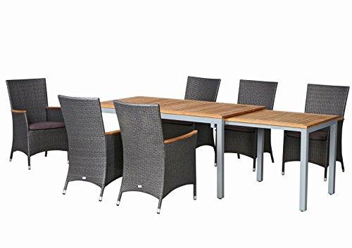 13-teilige Luxus Aluminium Teak Polyrattan Geflecht Gartenmöbelgruppe 'Venice' , 6 Diningsessel, 6 Auflage und ein Ausziehtisch Tifosi 160/280x90, silber - titan