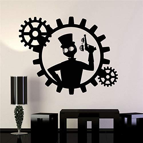 Direktverkauf Verkauf Vinyl Wandtattoo Steampunk Man Gun Getriebe Dekor Aufkleber Wandbilder Abziehbilder Design Wohnzimmer Aufkleber 58 * 74 cm