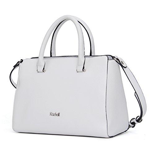 Kadell PU-Leder Handtaschen Damen Taschen Luxus Umhängetasche Top Griff Geldbörse Dunkelgrau Weiß