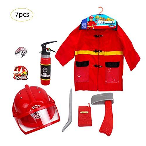 ningxiao586 7 STÜCKE Feuerwehrmann Rollenspiel Kostüm Outfit Feuerwehrmann -