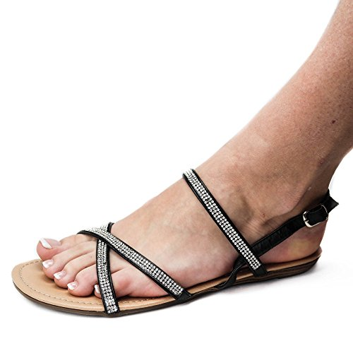 Sandálias Preto Trenner Das Toe Sandálias Mulheres Brilhante St418 Roman rwxqprBO0W