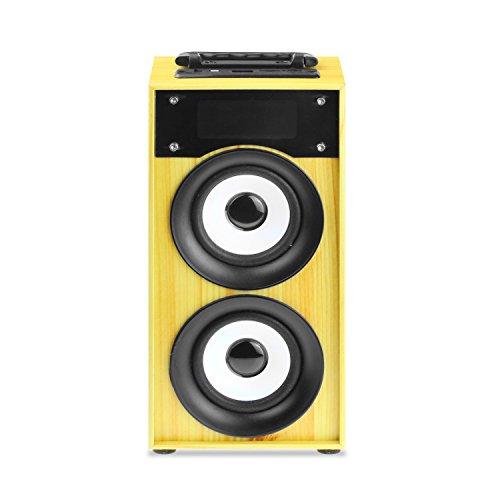 Altavoz Bluetooth Inalambrico Portatil con asa y altavoz de 10W con funcion de Radio FM, Lector tarjetas MicroSD (TF), entrada USB, control de volumen, Line-in, con luces LED - Modelo Frankie